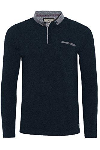 Herren Brave Soul Herad Langärmlig Polohemd Neu Designer Knopfkragen T-shirt Top Marineblau - Blau