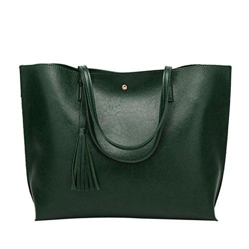 Tasche, Voberry Mode Frau Casual Taschen Leder Quaste Handtasche Umhängetasche Crossbody Tasche Grün