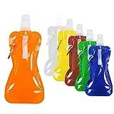 HO2NLE 6PCS Borracce Pieghevoli in Plastica CollapsibleWaterBottle Portabili Bottiglia d'Acqua Pieghevole Riutilizzabile per Bicicletta Escursionismo Viaggi 6 Colori