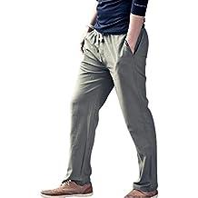 Surenow Pantalones de Lino para Hombre Cómodo Largo Cintura Elástica Casual