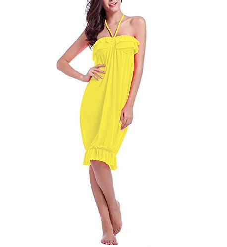 Hippolo Frau vertuschen Badeanzug Strandkleid Europa süße Frauen Brust gewickelt Rock Urlaub Beachwear Halfter (L, Gelb) (Badeanzug Vertuschen, Rock)