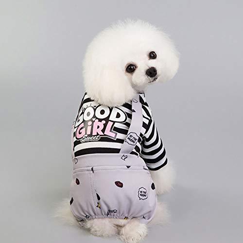 CYULING Pet Overalls, Soft Cotton Striped Dog Overalls, Pet Overalls für kleine Hunde und Katzen,L -