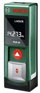 Bosch PLR 15 DIY Digitaler Laser-Entfernungsmesser, 2x Batterien AAA, Metalldose, (0,15-15 m Messbereich, +/- 3 mm Messgenauigkeit)