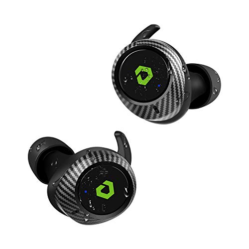 Bluetooth Kopfhörer, DESTEK T1 65H Wiedergabezeit Kabellos Kopfhörer in Ear Ohrhörer mit Bass Echt IPX7 Wasserfest Bluetooth 5.0 Noise Cancelling Hi-Fi Kabellose Ladehülle, Kohlefaseroptik für Sport