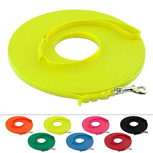 LENNIE Leichte BioThane Schleppleine, 9mm, Hunde bis 5kg, 12m lang, mit Handschlaufe, Neon-Gelb, geflochten