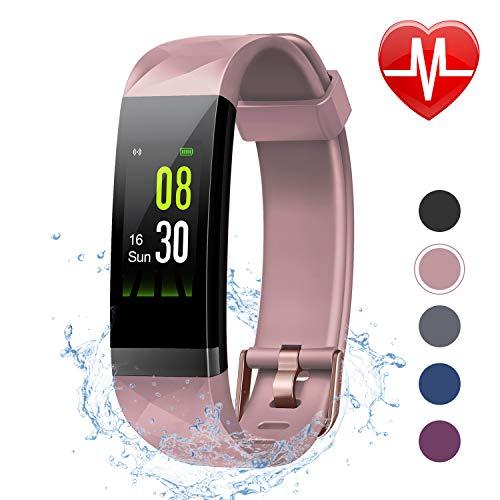 and mit Pulsmesser, Aktivitätstracker Schrittzähler Uhr Smartwatch 0,96 Zoll Farbbildschirm IP68 Wasserdicht und 14 Trainingsmodi, Anruf SMS Nachrichten für iOS Android Handy ()