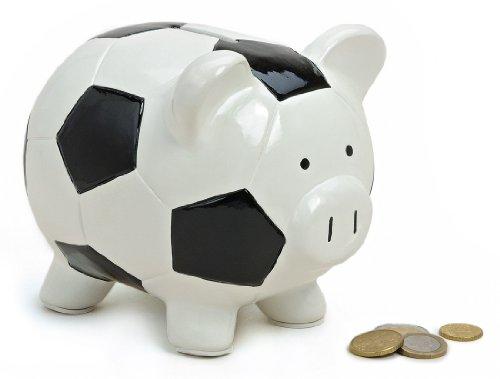 Spardose Sparschwein mit Fussball Optik aus Keramik 18x13x14 cm groß schwarz weiß, Gelddose Sparbüchse abschließbar mit Schlüssel, Geschenk