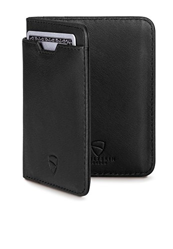 örse mit Schutz für RFID Karten - Hochwertiges italienisches Leder - Platz für bis zu 9 Karten und Bargeld (Schwarz) (Italienische Leder-karte Fall)