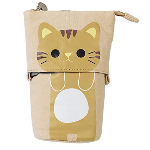 oon Teleskop Nette Katze Leinwand Bleistift Tasche Transformator Stehen Store Box für Jungen Mädchen Studenten - Braune Katze ()
