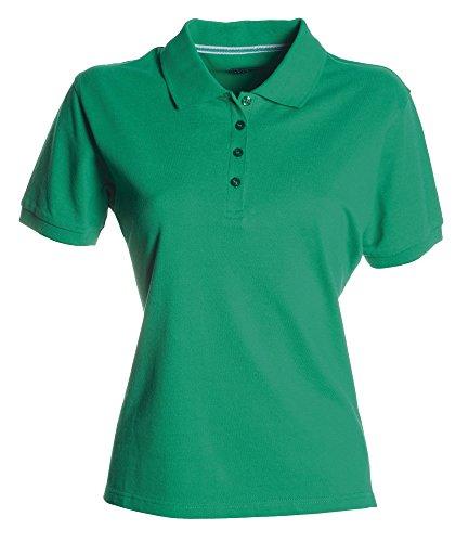 Damen Polohemd Venice 100% Baumwolle kurzarm 4 Knöpfe Nackenband, Farbe:green;Größe:M (Kurzarm-nackenband)