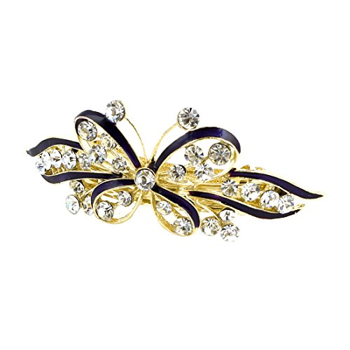 sourcingmap® Conception Bowknot Brillant Décor De Strass Français Pince Barrette Pince Cheveux