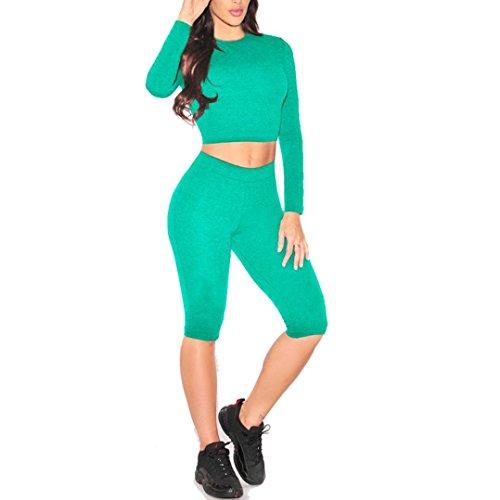 Toamen Pantalon de sport Ensemble, Femme Svelte Manche longue top + Milieu Pantalon yoga jogging Vert