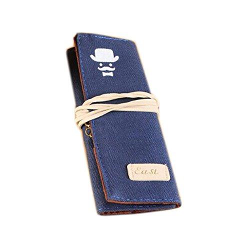 Creative Portrait Canvas Cosmétiques stylo stylo sac sac rouleau de cas (17*6CM, bleu)