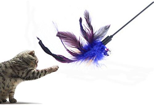 Lucklystar® Juguetes Bastoncillos para Gatos Cat Play Sticks Varilla con la Plumas y Campanas 1PCS(Color al Azar)