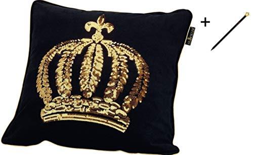 Harald Glööckler Designer Zierkissen 50 x 50 cm Krone mit Pailletten Schwarz/Gold + Casa Padrino Luxus Barock Bleistift mit Kronendesign
