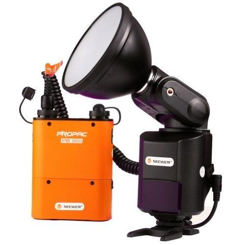 Galleria fotografica Neewer® 360ad 360W portatile esterno del flash Speedlite luce video luce video lampada video illuminazione con PB960Batteria al Litio per Canon 580EX II, 550EX, Nikon SB 900SB 800SB-80DX SB-28DX SB 28SB 27, Sony HVL-F58AM HVL-F56AM–F43AM, Metz Blitz