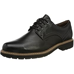 Clarks Batcombe Hall, Zapatos de Cordones Derby para Hombre, Negro (Black Leather), 43 EU