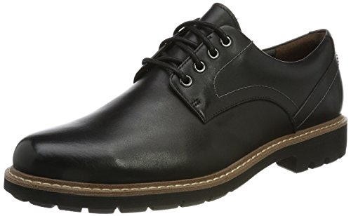 Clarks Herren Batcombe Hall Derbys, Schwarz (Black Leather), 42 EU