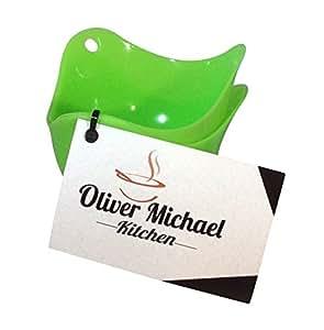 Portauovo tazze di Oliver Michael confezione da 2silicone Bracconiere cialde per realizzare uova in camicia e free How to eBook