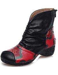 Dr Martens Botas piel genuina 4,5cm Tacón grueso Zapatos casuales Mujer Moda Cómodo piel genuina Punta redonda Encaje de flores Cremallera Zapatos de la Corte Tamaño 35-40 de la UE , black , 39