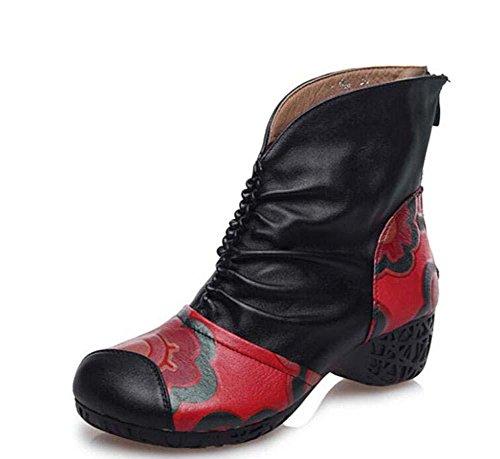 Dr Martens Stiefel Echtleder 4,5cm Chunky Ferse Lässige Schuhe Frau Mode Gemütlich Echtleder Runder Zeh Blütenspitze Reißverschluss Gericht Schuhe Eu Größe 35-40 Black