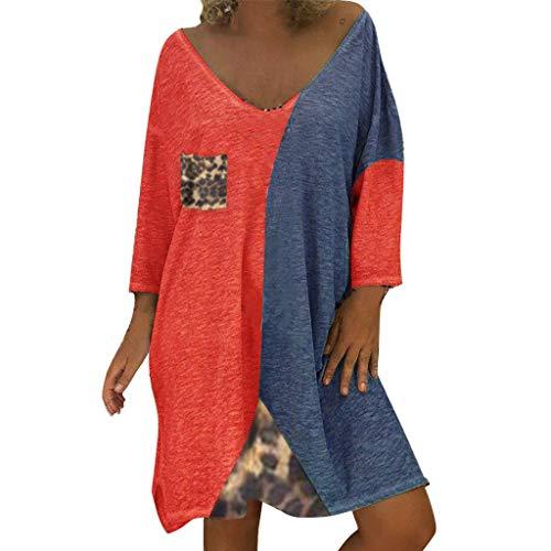 Ernie Sexy Kostüm - LOPILY Damen Kleid Leopard Muster Shirtkleid 54 52 Farbblock Tunika Kleid Locker Große Größen Blusenkleid Wild Sexy Hemdkleid Knielang Strandkleid Retro Abendkleid für Mollige (Rot, 48)