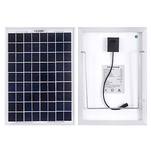 Panel solar mono betop-camp de 10 vatios con cable de línea de clip de cocodrilo de 5 m: una fuente ideal de energía gratuita para caravanas, autocaravanas, botes o cualquier otro sistema fuera de la red con baterías de 12 V    Tecnología monocristal...