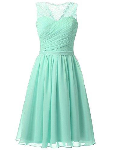 Aurora dresses Damen Abendkleider Elegant Kurz Partykleider Chiffon Ballkleid Brautjungfern Kleider(Minze,36) - Frauen Minze-kleid Für