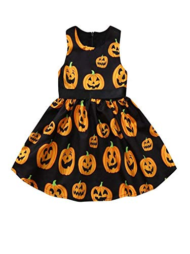 RYTEJFES Kinder Langarm Halloween Kostüm Top Set Baby Kleidung Set Kleinkind Infant Baby Mädchen Kürbis Geist Print Kleider Halloween Kostüm - Powerpuff Girls Kostüm Kinder