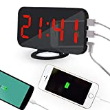EUYOUZI 2019 Mirror Digital LED Alarm Clock with Dual USB Port for Phone Charger, 6.5-inch Large Screen, Auto Dimming, Snooze Function, Diming Mode - Red Font
