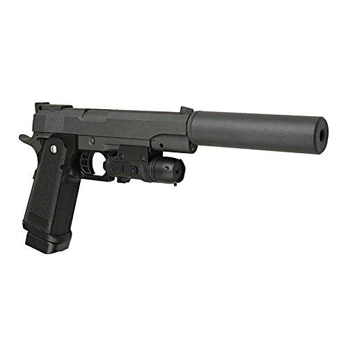Galaxy - Pistola da softair Colt M1911, con silenziatore full metal, a molla, ricarica manuale (0,4 joule)