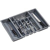 Kesper 30087 - Cajón extraíble para cubiertos (plástico, 29-50 cm x 38 x 6,5 cm), color gris