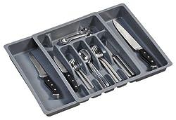 Kesper 30087 Besteckkasten ausziehbar, Kunststoff, Maße: 29-50 cm x 38 x 6.5 cm, grau