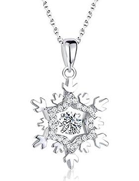 18 Karat Weißgold Kristall Zirkonia Schneeflocke Halskette Liebe Unendlichkeit Halskette weihnachten geschenke...