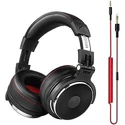 OneOdio Casque, Casque DJ fermé pour contrôler et Le mixage, Casque en Cuir protégé, Isolation Acoustique, Mouvement Rotatif à 90° Casque stéréo Portable à Placer sur l'oreille (Red)