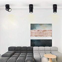 7W Black LED Single Spotlight Fitting for Kitchen (Cool White), 180°Adjustable Spotlight Head. Wall Spotlight Led for Bedroom. (COB)