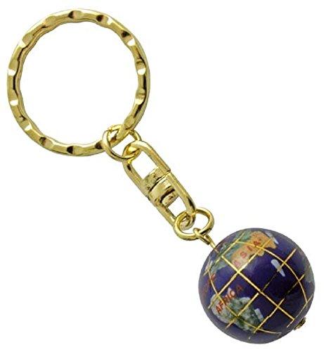 Schlüsselanhänger Edelstein Lapis Lazuli Globus, 1,9 cm, Edelstein Schlüsselring (Edelstein-globen)