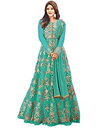 73aa94f3e4f Nancy Fab Women s Heavy Embroidered Work Bridal Net Gown  (Sky Blue Free Size)