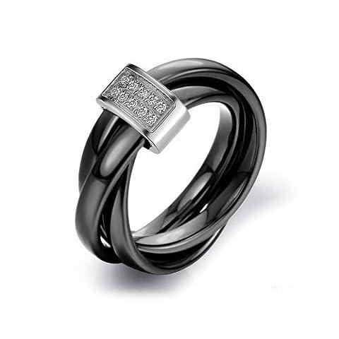 JewelryWe Bijoux Bague Femme Anneaux Entrelacé Faux Diamant Mariage Céramique Acier Inoxydable Anneaux Fantaisie Couleur Noir Argent Largeur 3mm Avec Sac Cadeau(Taille de Bague