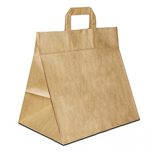 50 x Konditortüten | Brotbeutel extra breiter Boden braun 26+17x25 cm | stabile Brottüten weiter Boden | Giveaway | Brötchentüte| Bäckertüten|HUTNER