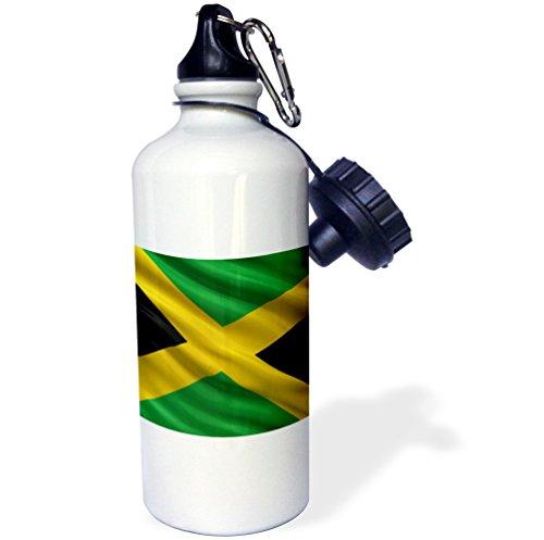 _ 1Flagge von Jamaika im Wind Sport Wasser Flasche, 21Oz, weiß (Fotos Von Jamaika)
