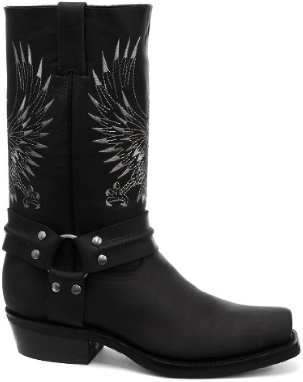 Grinders Bald Eagle Cowboy Botas para hombre, color negro