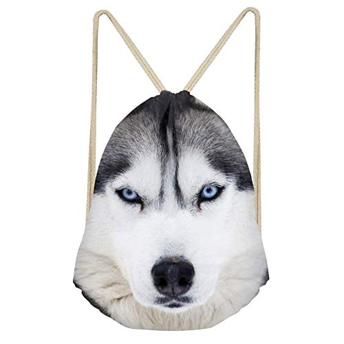 ZHIZIQIU White Husky Pattern Sackpack Drawstring Bags Storage Shoes Lightweight Cinch Backpack Dog 2 Wheeled Carry Case