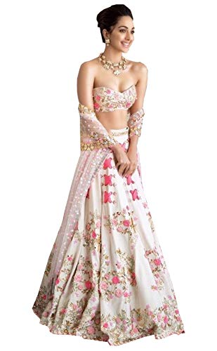Shivam Women\'s Silk Embroidered Lehenga Choli(whiteheavy_White_Free Size)