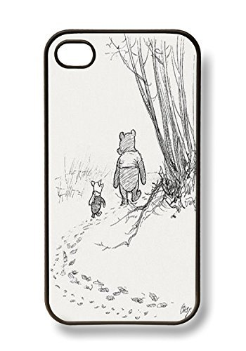 apple-iphone-4-4g-4s-cute-winnie-the-pooh-piglet-friends-forever-retro-vintage-black-sides-slim-hard