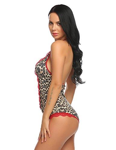 Avidlove Damen Body aus Spitze und Netzstoff mit tiefem Ausschnitt Leoparde Negligee Bodysuit Neckholder Unterwäsche Strapsen Dessous Gelb