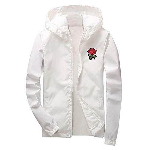 KPPONG 2018 Frauen Männer Herbst Rose Print Dünnschnitt Langärmelige Sonnencreme Mit Kapuze Sweatshirt Pullover Tops(Weiß,Small)
