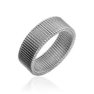 bungsa® Anello Flessibile maglie acciaio inox argento 49-70(anello per uomo e donna gioielli alla moda anello Mesh partner anelli donne uomini acciaio chirurgico), acciaio inossidabile, 67 (21.3), colore: argento, cod. 2539