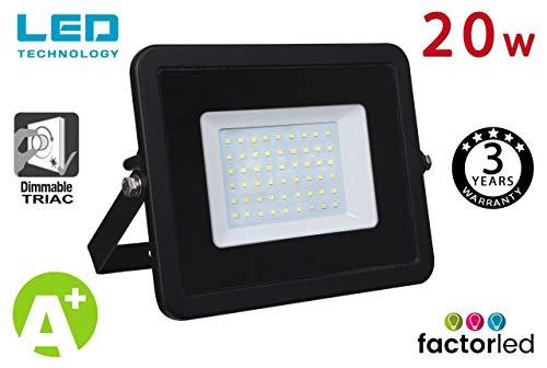 FactorLED Foco Proyector LED 20W Exterior Negro IP65 Elegance Dimable Triac, Decoración...