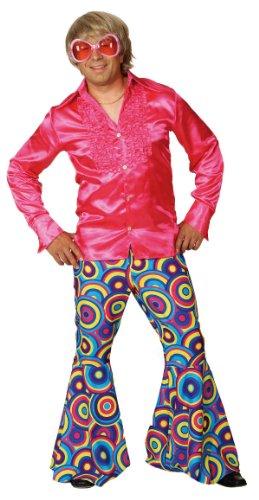 Schlaghose Crazy in pink-blau zum Herren Kostüm Karneval Gr.56/58